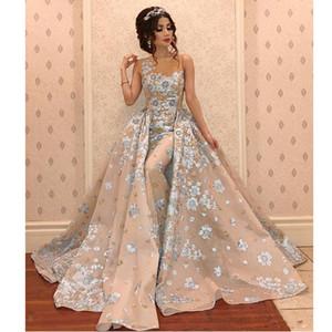 Скромная вышивка кружева Русалка вечерние платья со съемным шлейфом драгоценный камень шеи бисером Abric Dubai знаменитости платья