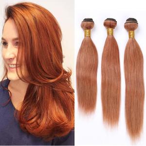 # 30 Medium Auburn Brésil Human Bundles Cheveux raides Cheveux Vierge Extensions Chatain Weave Trames Auburn Human Hair 3 offres Bundle