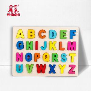Kinder Holz 3D Alphabet Puzzle Kinder Großbuchstaben Digitale Geometrische Pädagogisches Spielzeug Für Kleinkind PHOOHI Y200413