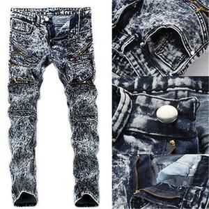 Мужские джинсы тонкие тощие взлетно-посадочные полосы прямые эластичные джинсовые брюки уничтожены разорванные мужские одежды