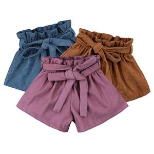 아이들 키즈 코듀로이 반바지 패션 어린이 신축성 높은 허리 봉오리 반바지 여자 벨트 공주 스커트 짧은 A2222