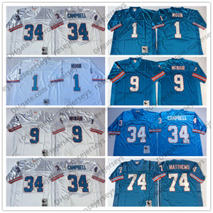NCAA Oilers para hombre # 9 Steve McNair Jersey azul claro vintage # 34 Earl Campbell # 74 Bruce Matthews # 1 Warren Moon Blanco Adulto Retro Cosido
