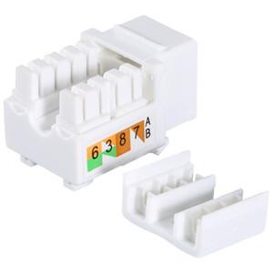 Freeshipping 50 Pcs plastic White Generic Cat6 RJ45 Jack Punch-Down Stand Ethernet Module Coupler