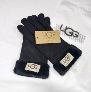 Меховые кожаные перчатки Досуг Мода плюш зима женщины Открытые Теплая Матовые варежки Пяти пальцев перчатка