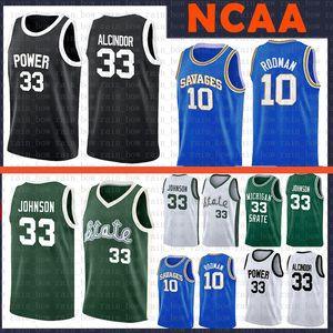 Salvajes High School Dennis 10 Rodman College Basketball Jersey Earvin 33 Johnson St. Joseph's Kareem Abdul-Jabbar University of Michigan