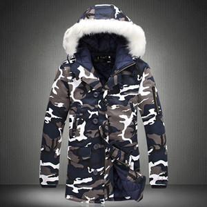 Escudo de manera masculino con capucha los hombres del diseñador de la chaqueta de invierno camuflaje del ejército gruesa capa caliente de los hombres de las tapas de los hombres M-5XL del tamaño extra grande