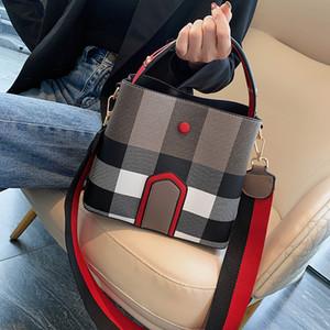 2019 새로운 버킷 가방 여성 가죽 격자 무늬 어깨에 매는 가방 핸드백 가방 꽃 가방 핸드백 xianghe / 11