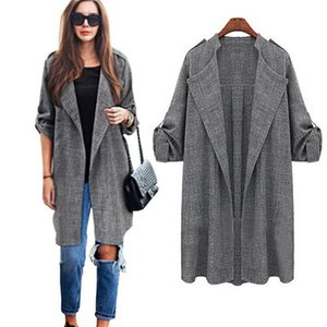 2019 new fashion popular women's European and American Fashion New Loose Large Size Long Sleeve Mid-long Windsuit Coat