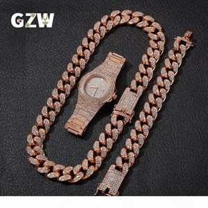 New Fashion Luxury Designer 20mm Gold Blingbling Mens Cuban Link Chain Necklace Bracelet Watch Set Hip Hop Rapper Jewelry Gifts for Men