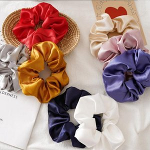 Women Scrunchies Silk Solid Hair Bands Ties Satin Elastic Scrunchie Girls Ponytail Holder Headwear Women Hair Accessories 8 Colors BT5178