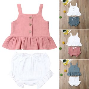 2020 new Toddler Kid Baby Girl Ruffle Sling Top Short + Pants Outfit Summer 2PCS Clothes Set