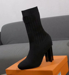 New Womens Sock-como botas de tornozelo dedos apontados lã Designer Sexy Ladies sapatos de salto alto Botas Tamanho 35-41