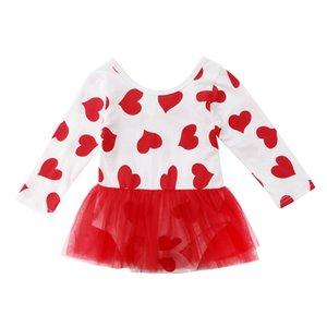 Bebê recém-nascido meninas Bodysuits Vestido Moda Verão Primavera manga comprida Coração Impressão Lace malha Camada Vestidos infantil Kid Jumpsuit