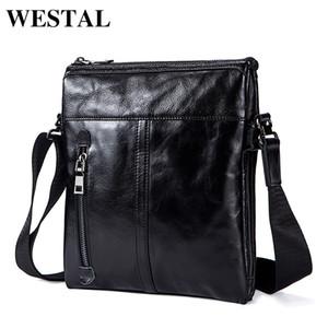WESTAL Messenger Bag Men bandolera de cuero genuino de los hombres de moda de cuero Pequeño Flap Bolsos Crossbody masculinos bolsos 1023