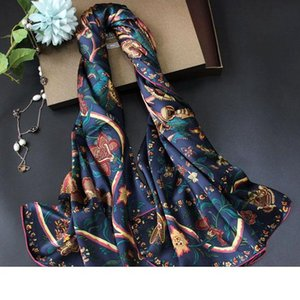 Design 2020SS Large Scarves High Quality Silk Scarves Spring Summer Beach Coverup 140 * 140cm Fashion Design Floral Print Muflers Winter Ne