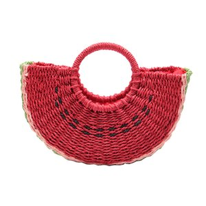 New Handmade Bag Women Pompon Beach Weaving Ladies Paper Straw Bag Wrapped Beach Handbag Moon Shaped Bag Red Dropship H264