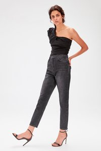 Trendyol Siyah-Flushing Yüksek Bel Anne Jeans TWOAW20JE0039