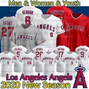Los Angeles Mike Trut Jersey Anthony Rendon Shohei Ohtani Andrelton Simmons Albert Pujols Justin Upton 2020 Yeni Sezon Beyzbol Formaları