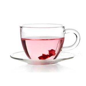 Стеклянная чашка с блюдцем 100 мл небольшой чашки чая кунг-фу чайный набор с пластиной с ручкой стеклянной чаши чашками Cup