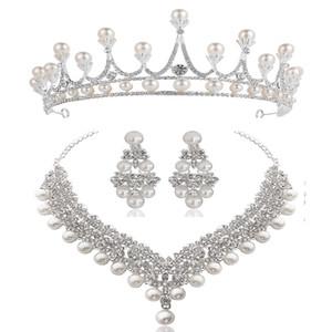 Joyería cristalina blanca corona de la perla pendientes del collar fija la joyería nupcial de la boda de la manera elegante de la joyería de diamantes zirconia cúbica