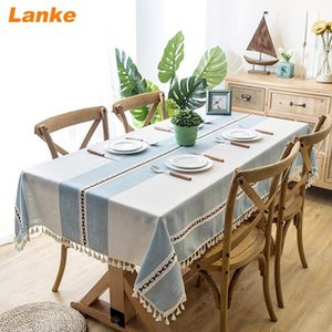 Lanke Linen table cloth rectangular Waterproof Oilproof With Tassel , Dining Tablecloth for Home Christmas Birthday Paning Party Y200421