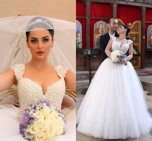 Amazing Pearls Ball Gown Wedding Dresses Bridal Gowns with Cap Short Sleeves Ruched Tulle lace up Back Wedding Gowns Saudi Arabic Cheap
