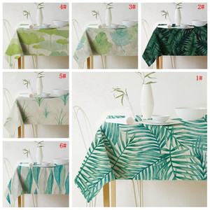 Green Plant Print Tablecloth Linen Waterproof Table Cloth Art European Table Cover For Party Home Decoration Tablecloth Wholesale VT0532