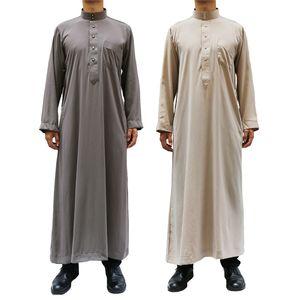 Adult Abaya Muslim Man Islamic Clothing Jubba Thobe Pakistan Evening Dress Arabic Traditional Ramadan Long Sleeve Robes
