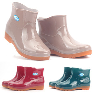 2019 New Leisure rain boots women Low-Heeled Round Toe Shoes Waterproof Middle Tube Rain Boots chaussures femmes