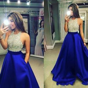 2020 새로운 로얄 블루 등이없는 새틴 댄스 파티 드레스 블링 블링 고삐 파란색 최고 몸통 라인 바닥 길이 파티 이브닝 드레스