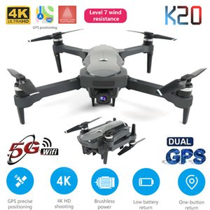New Drone K20 with brushless motor 5G GPS 4K HD dual camera Professional Foldable Quadcopter 1800M RC Distance Toy boy's gift T200420