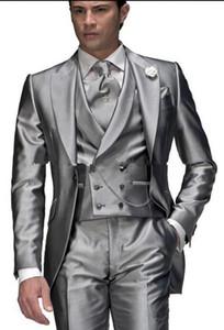 Un nuovo stile Button Abiti da sposa Silver Grey smoking dello sposo picco risvolto Groomsmen Best Man Mens (Jacket + Pants + Vest + Tie) 4202