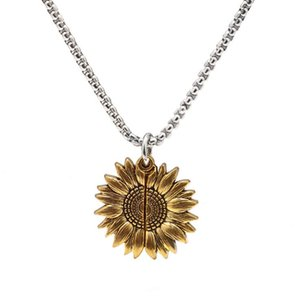 Fashion Sunflower Pendant Necklace For Woman You are My Sunshine Engraved Necklace for Mom