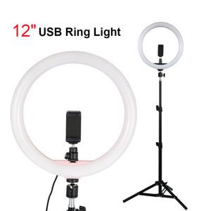 """Iluminación de fotografía de estudio regulable 12 """"Selfie Ring Light con 1.1m Trípode Soporte para teléfono para cámara de teléfono en vivo / maquillaje Video Shooting"""