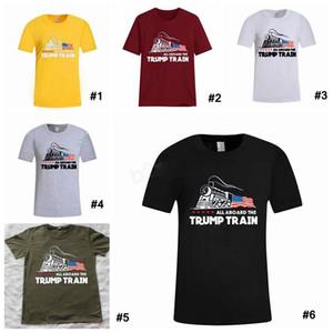Homens Donald Trump Train T-shirt O-Neck manga curta bandeira dos EUA Mantenha-americano Grande carta Tops Tee Todos a bordo do Camisa XD22928