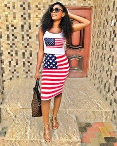 Флаг США Печать Sexy женщин 2PCS лета платья Тощий дамы Два Бюстье Полосатый печати Женская одежда