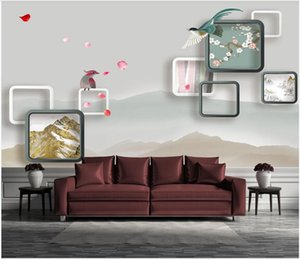 3d mural paper custom photo 3D stereo checkered stylish and simple TV background wall art canvas pictures photo wallpaper 3d