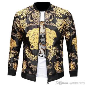 2019 Camisa de otoño Solapa a prueba de viento Estampado floral Cremallera Abrigo Contraste Color Chaqueta delgada Chaquetas de diseñador Ropa de diseñador Plus