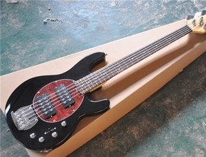 5-String Electric Bass with Black Color,2 Open Pickups,Rosewood Fingerboard and Maple Neck,Active Circuit and can be Customized