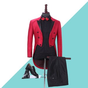 Red Mens Tailcoat Prom Suits for Men Groom Tuxedo 2Pcs Peaked Lapel Men Suit Morning Dress Jacket Pants Set