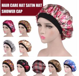 Hair Satin Bonnet For Sleeping Shower Cap Silk Bonnet Bonnet Femme Women Night Sleep Cap Head Cover Wide Elastic Band