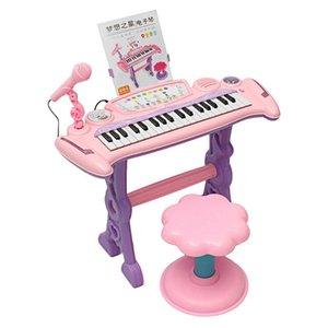 Rosa tastiera 37 tasti bambini elettronica Piano Organo Giocattolo / microfono musica Giocare con i bambini Educational Toy regalo per i bambini Y200428