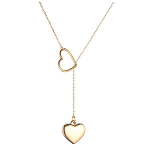 Amour Coeur Double Coulissante Conception En Acier Inoxydable Pendentifs Colliers Pour Femmes Saint Valentin 2019 Bijoux Femme Cadeau