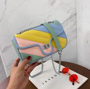 Bag catena all'ingrosso donne delle borse delle donne del Rainbow Più Borse a tracolla tinta unita Crossbody Bag