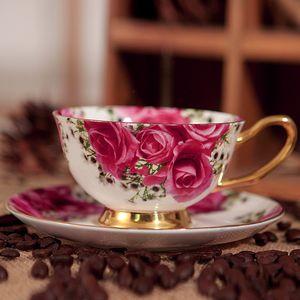 Kırmızı İngiliz kahve fincanı kemik Çin kupa, retro yaratıcı ev seramik Avrupa çay seti bardak set gül
