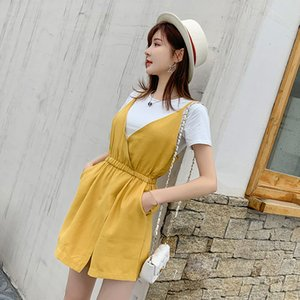 HELIAR Women Playsuits and T-shirts Lady Solid Tees Spaghetti High Waist Rompers Two Pcs Outfits Cloth Summer Female Playsuit T200704