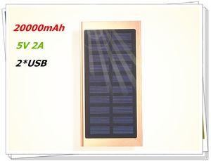 Ultra Thin Solar Energy 20000mAh 5V2A 2USB Power Bank Mirror Screen LED Display External Battery Charger Powerbank