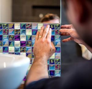 Série laminé Sequin Mosaïque Carreaux muraux Stickers