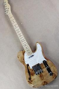 Alev bej, yarı-içi boş elektrik gitar beyaz inci pickguard, burl ağacı-kaplama, krom donanım, yüksek kaliteli kişiselleştirilmiş servis