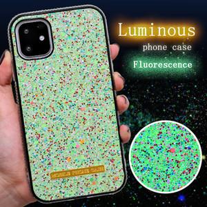 Lujo luminoso caso del brillo para el iPhone 11 Pro máximo con el capítulo de diamante para el iPhone Bling-Bling fluorescencia cáscara del teléfono